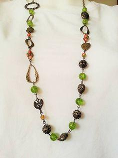 Gennt / dlhý náhrdelník korálky/komponenty v bronzovej farbe