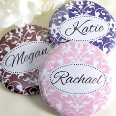 6 Pocket Mirrors - Bridesmaid Gifts - Personalized Wedding Party Favors. $22.50, via Etsy.