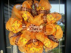 deco mesh fall harvest wreath #etsy lilmaddy12 $70