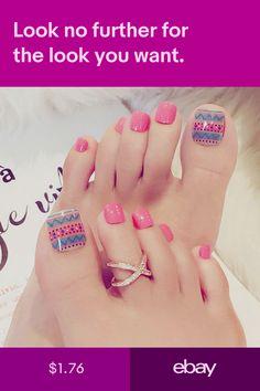 24 X Summer Ethnic Style Full Cover False Thumb Toe Fake Full False Nails Nail Cute Toe Nails, Toe Nail Art, Acrylic Nails, Cute Nail Art Designs, Toe Nail Designs, Feet Nail Design, Summer Toe Nails, Celebrity Nails, Feet Nails