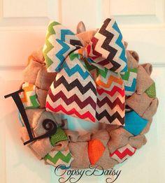 bubble burlap wreath chevron burlap wreath by OOPSYDAISYDESIGNS, $55.00