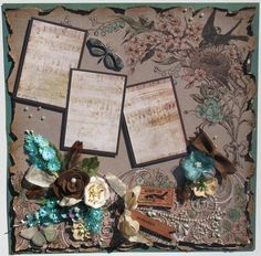 Nature inspired scrapbook page at Diane's Niceties. Vintage style.