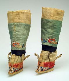 Embroidered Chinese boots for bound feet - click on image to Go Back