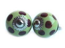 2 peace small Ceramic Knob green-brown  dots from von KnobKleo