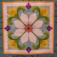 Quilt Inspiration: 2013 Pacific International Quilt Festival: Part Magnolia by Sylvia Gegaregian Machine Quilting Designs, Quilting Projects, Quilting Ideas, Quilt Stitching, Applique Quilts, Longarm Quilting, Free Motion Quilting, International Quilt Festival, Flower Quilts
