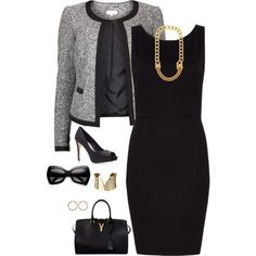 Gray & Black Business with Gold Accessories. Love!