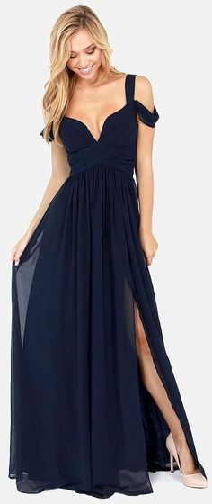 Elegant off-the-shoulder navy blue bridesmaid dress idea with classic slit; Via Lulus