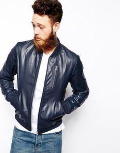 $181, Navy Leather Bomber Jacket: Asos Brand Leather Bomber Jacket. Sold by Asos. Click for more info: http://lookastic.com/men/shop_items/193050/redirect