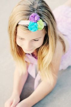 Felt Carnation Headband Purple Aqua Green by CuteZTies on Etsy, $10.00