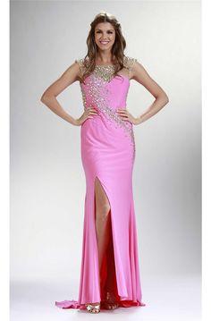 Sheath Illusion Neckline Low Back Pink Jersey Beaded Prom Dress Side Slit Prom Dresses Long Pink, Pink Party Dresses, Prom Dresses 2017, Designer Prom Dresses, Formal Dresses, Side Slit Dress, Beaded Prom Dress, Illusion Neckline, Gowns