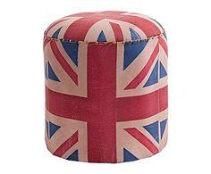 Industrial Mix: Puf en madera de mango y tapizado British