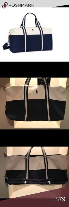 NEW Polo Ralph Lauren Weekender/Gym/Duffle Bag Great duffle bag for weekend trip to the beach or for hitting the gym. Brand new with slight blue stain from canvas on non-logo side, hardly visible. Includes shoulder strap! Polo by Ralph Lauren Bags Luggage & Travel Bags