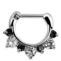 Amazon.com: 316L Surgical Steel Septum Clicker Nose Ring Surgical... ($9.99) ❤ liked on Polyvore featuring jewelry, clear crystal jewelry, clear jewelry and surgical steel jewelry
