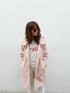 Pale pink is THE color of spring 2017 - I love the pairing with light khaki pants and a graphic tee!