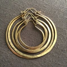 Thick Hoop Earrings Large Hoops Brass Hoop by daniellerosebean