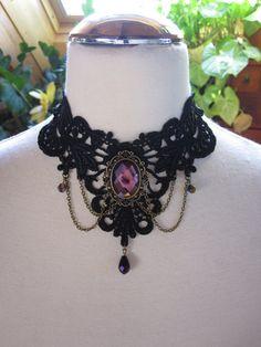 Lace Choker Necklace Purple Gothic Burlesque Bohemian by Ravennixe, $45.00