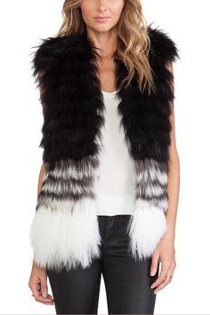 LUCLUC Gradient Color Faux Fur Vest - women fashion