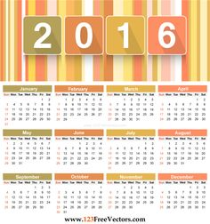 Free Download Printable Colorful Calendar 2016 Vector Template ...