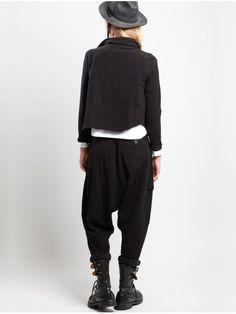 Cotton Plush Low Crotch Trousers by LURDES BERGADA