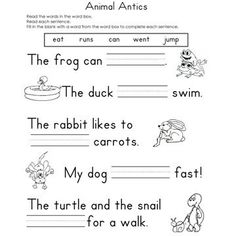 Help your child practice his reading skills with these free fill-in-the-blank worksheets. 1st Grade Reading Worksheets, English Worksheets For Kids, Reading Comprehension Worksheets, Reading Fluency, Writing Worksheets, Kindergarten Reading, Kindergarten Worksheets, Reading Skills, Writing Activities