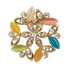 Mirabelle Floral Cat's Eye and Clear Crystal Scarf Clip