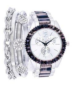 Look at this #zulilyfind! Stainless Steel & Black Chronograph Watch & Bracelet Set #zulilyfinds