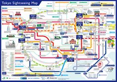 The Tokyo Sightseeing Map has railway routes and illustrations of tourist spots such as Sensoji Temple, Tokyo Skytree and the Roppongi Hills. | COURTESY OF TOKYO METRO CO., LTD