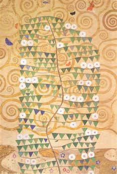 Cartoon for the frieze of the Villa Stoclet in Brussels: right part of the tree of life, 1905 - 1909 - Gustav Klimt Gustav Klimt, Art Nouveau, Art Deco, Tree Of Life Art, Canvas Online, Collage Maker, Oil Painting Reproductions, Canvas Art Prints, Art For Sale