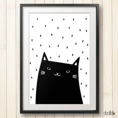 Kids poster,monochrome print,black and white,modern,scandinavian style,nursery poster,animal print,baby print,cat poster,kids room decor