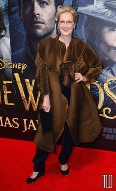 """Meryl Streep at the Gala Screening of """"Into The Woods"""" at The Curzon Mayfair in London, wearing an Issey Miyake ensemble."""