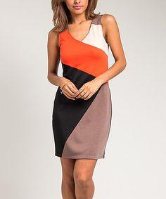 This Orange & Black Color Block Sheath Dress - Women is perfect! #zulilyfinds