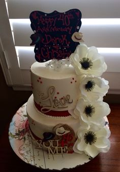 Country Themed Happy 40th Wedding Anniversary Cake