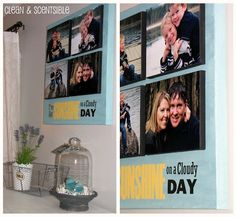 LOVE this photo idea putting small canvases on a large canvas with a quote! via @Cleanscents