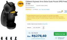 Cafeteira Expresso Arno Dolce Gusto Piccolo DP00 Preta - 15 Bar >