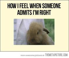 When someone admits I'm right…