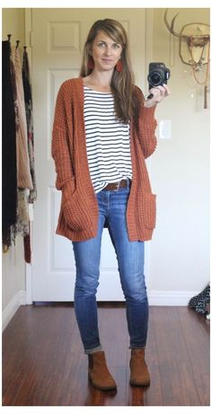Oversized Cardigan Outfit, Rust Cardigan, Pullover Outfit, Cardigan Outfits, Mustard Cardigan Outfit, Fall Cardigan, Yellow Cardigan, Shirtdress Outfit, Striped Dress Outfit