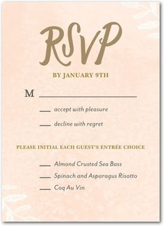 RSVP Response Card in Cashmere Pink - I like that the guest can pick their entree selection at the bottom.