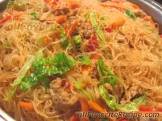 Pansit Bihon - most authentic recipe I've seen yet. You just can't make pancit without fish sauce!!!