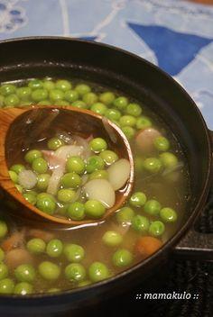 暮らしと育児 2:グリンピースの春スープ