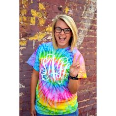 Monogram Tie Dye Shirt Rainbow Short Sleeve Sorority Gift Bridesmaid... ($17) ❤ liked on Polyvore featuring tops, t-shirts, black, women's clothing, rainbow tie dye shirt, tie dye t shirts, tye dye t shirts, monogram t shirts and tie dyed shirts