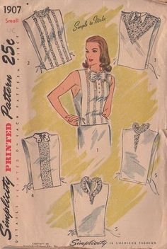 Csnt find in link. Retro Pattern, Vintage Sewing Patterns, Blouse Patterns, Clothing Patterns, Vintage Dresses, Vintage Outfits, Retro Fashion, Vintage Fashion, Collars For Women