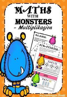 Dette er Multiplikasjon Niv 1 Del 1 i matematikkserien - Matte med Monstre! I denne pakken fr du ark som dekker gloser og regnestrategier. Glosene som er inkludert i denne delen er: Ganger, produkt, totalt, I alt, faktor og multiplikasjon. Regnestrategiene som er inkludert er: Trn, kryss, grupper, matriser, hoppe telling og gjentatt addisjon.