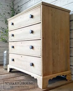 How To Get This Look! Raw Dresser Makeover Market House Restorations How To Get This Look! Diy Dresser, Redo Furniture, Dresser Makeover, House Restoration, Refinishing Furniture, Furniture Rehab, Farmhouse Dresser, Shabby Chic Furniture, Raw Wood Furniture