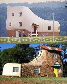 The Haines Shoe house in York County, Pennsylvania This is a fun place to visit for ice cream and baked goods.