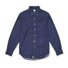 Orslow One Wash Denim Shirt – Dick's Edinburgh Denim Button Up, Button Up Shirts, Clothes Crafts, Button Down Collar, Denim Shirt, How To Make, How To Wear, Shirt Dress, Edinburgh
