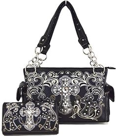 Western Cowgirl Concealed Carry Cross Rhinestone Purse Handbag Messenger Shoulder Bag Wallet Set Black ** Visit the image link more details.