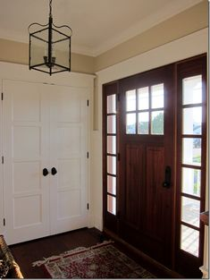 Excellent idea for front door and closet doors in my foyer. Excellent idea for front door and closet doors in my foyer. Doors, Front Entry Doors, Front Entrances, Entry Closet, Stained Doors, Closet Doors, French Doors With Screens, Front Closet, House Front