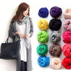 170*45cm Solid Soft Cotton Long Women Scarves