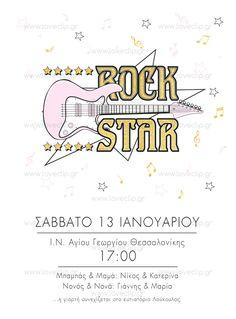 ROCK STAR  Προσκλητήριο με rock κιθάρα, αστέρια και μουσικές νότες. Rock, Bullet Journal, Invitations, Stars, Girls, Toddler Girls, Daughters, Skirt, Maids