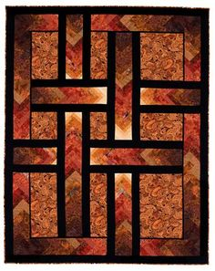 Autumn Paths ( Braid Quilt) Pattern by Ilene Bartos Finished size 74 x 94 Fall Quilts, Scrappy Quilts, Batik Quilts, Strip Quilts, Mini Quilts, Quilting Projects, Quilting Designs, Quilting Ideas, Quilt Design